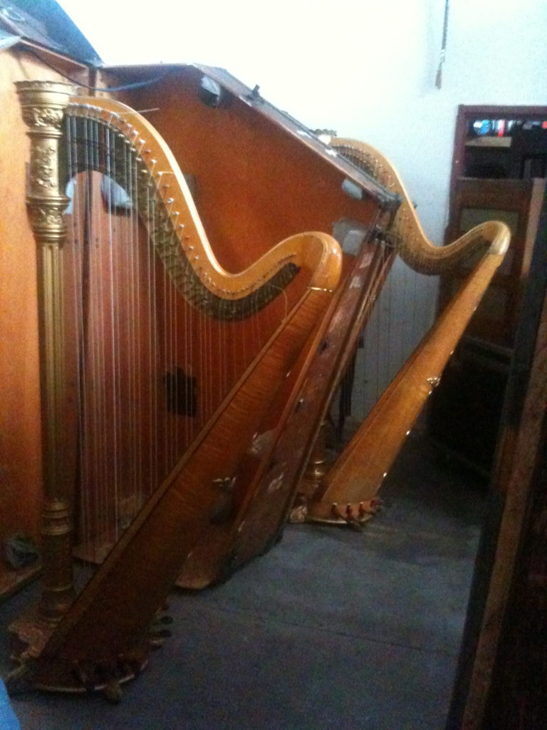 Finding a harp in a New York warehouse for an event that evening!